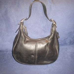 Coach Black All Leather Small Hobo Bag